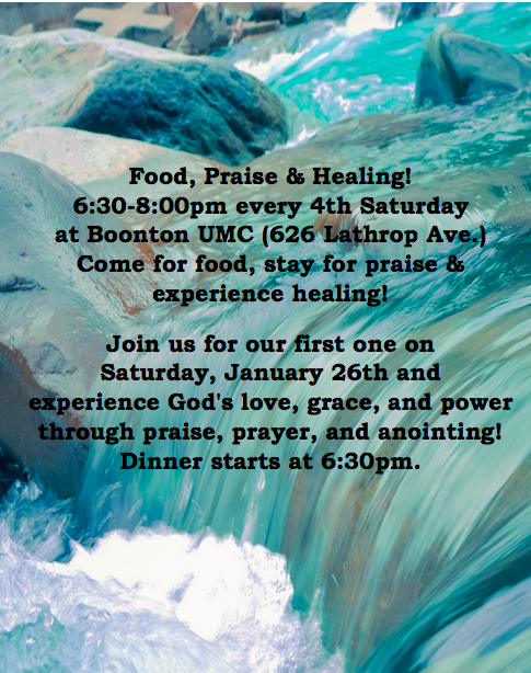 Food, Praise, & Healing @ Boonton United Methodist Church